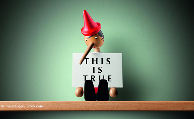 "Pinocchio mti einem ""This is true""-Schild"