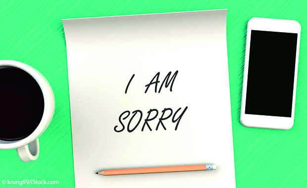 "Notiz mit dem Text ""I am sorry"""