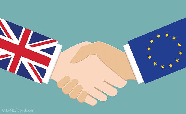 Illustration: Händeschütteln zwischen Großbritannien und der EU
