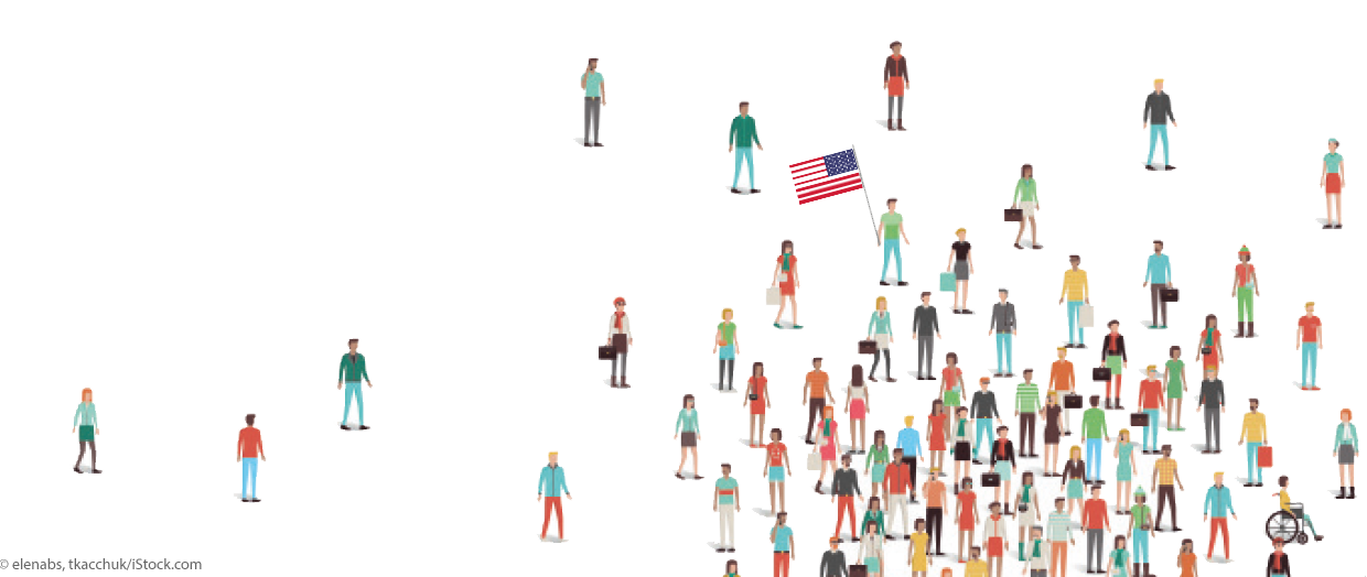 Illustration: Figuren mit USA-Flagge